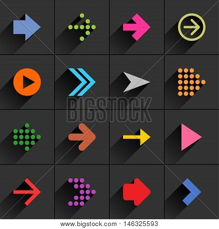 16 arrow flat icon with long shadow. Blue green pink orange brown yellow violet purple red cobalt magenta signs on dark gray background Vector illustration web design element 8 eps