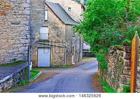 Deserted Street of the French City in Lemousin
