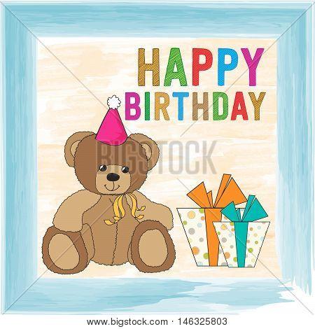 Childish Birthday Card With Teddy Bear