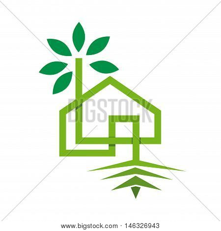 Vector sign green eco house, isolated illustration