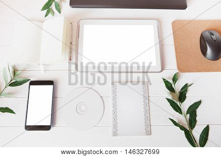 Styled Natural Eco Home Office. Smartphone, Tablet, Paper For Notes, Cd, Dvd, Notebook With Copy Spa
