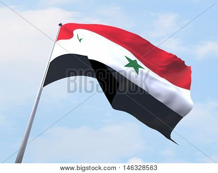 Syria flag flying on clear sky. 3d rendering