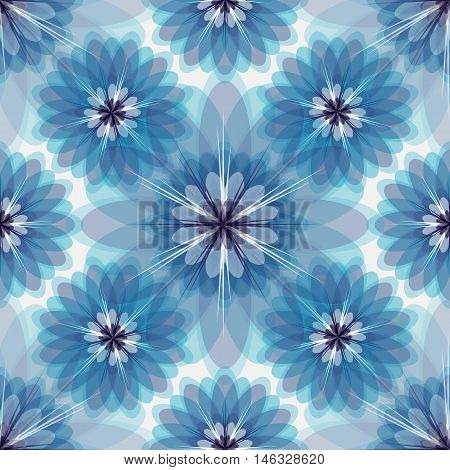 Repeating white-grey-blue floral pattern with vintage translucent flowers vector eps10