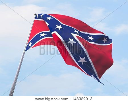 Confederate States of America flag flying on clear sky. 3d rendering
