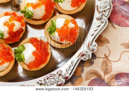 canape with caviar