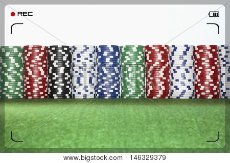 Stacks of Gambling Chips being recorded
