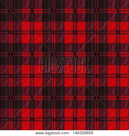Red and black tartan wool eaved material