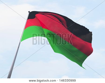 Malawi flag flying on clear sky. 3d rendering