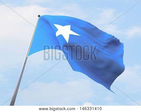 Somalia flag flying on clear sky. 3d rendering