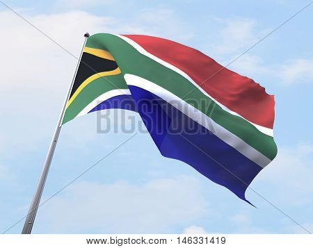 South Africa flag flying on clear sky. 3d rendering