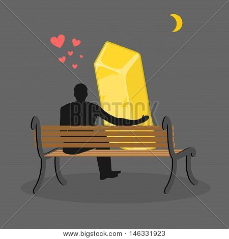 Lover Gold. Golden Bullion And People Are Looking At Moon. Date Night. Man And Wealth Of Sitting On