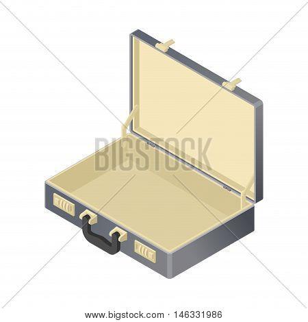 Suitcase Empty Isolated Isometric Style. Blank Case On White Background. Black Bag