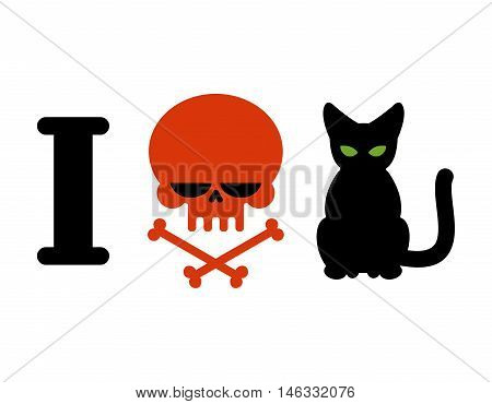 I Hate Cats. Skull Symbol Of Hatred And Pets. Logo For Allergy Sufferers And Hooligans