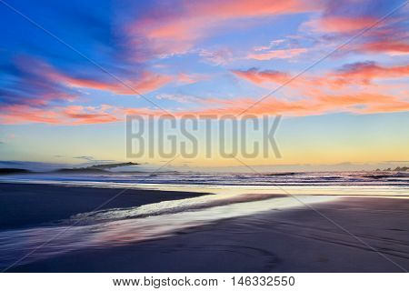 View Of Coastline At Sunset. Westport Of New Zealand.