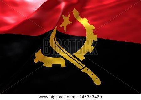 Angola flag background , 3d rendering image