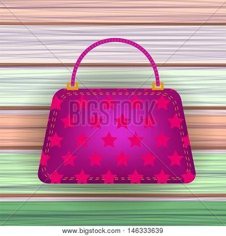 Pink Modern Womens Handbag on Colorful Planks Background.