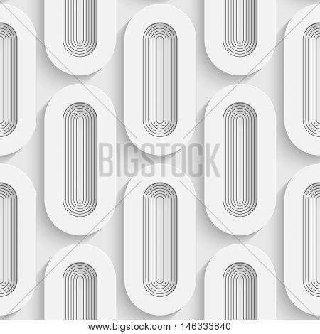 Seamless Ellipse Pattern. Vector Soft Background. Regular White Texture