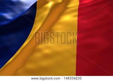 Chad flag background , 3d rendering image