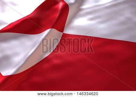 Greenland flag background , 3d rendering image