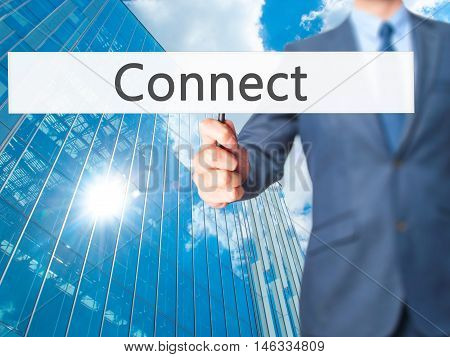 Connect - Business Man Showing Sign