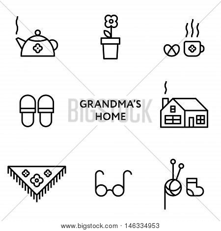 Grandmothers home. Set of flat line icons. Modern design