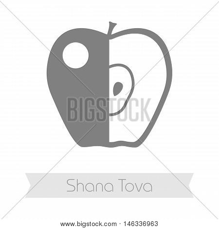 Apple. Rosh Hashanah icon. Shana tova. Happy and sweet new year in Hebrew