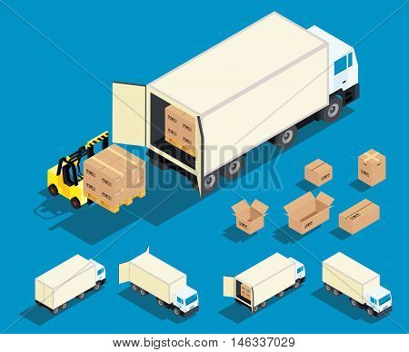 Loading cargo in the truck isometric vector illustration. Delivery, freight cargo transportation industry