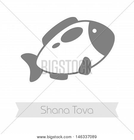 Fish. Rosh Hashanah icon. Shana tova. Happy and sweet new year in Hebrew