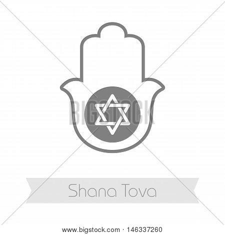 Hamsa hand. Rosh Hashanah icon. Shana tova. Happy and sweet new year in Hebrew
