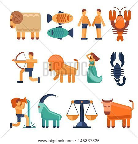 Zodiac signs in flat style. Astrological icons cancer and libra, aquarius and taurus. Vector illustration