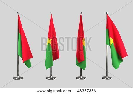 Burkina Faso indoor flags isolate on white background 3d render
