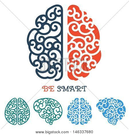 Human linear brain logo or anatomy thinking label vector intelligence illustration