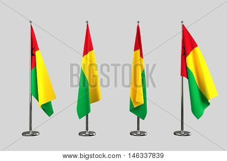 Guinea Bissau indoor flags isolate on white background