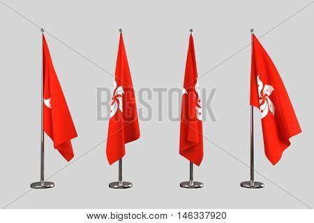 Hongkong indoor flags isolate on white background
