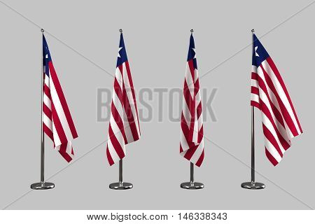 Liberia indoor flags isolate on white background 3d rendering
