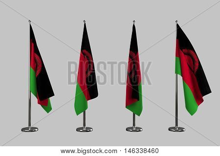 Malawi indoor flags isolate on white background 3d rendering