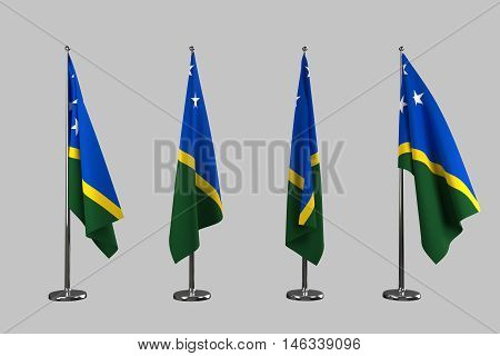 Solomon Island indoor flags isolate on white background 3d rendering