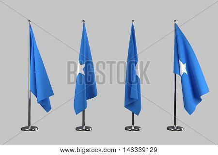 Somalia indoor flags isolate on white background 3d rendering