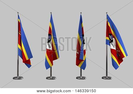Swaziland indoor flags isolate on white background 3d rendering