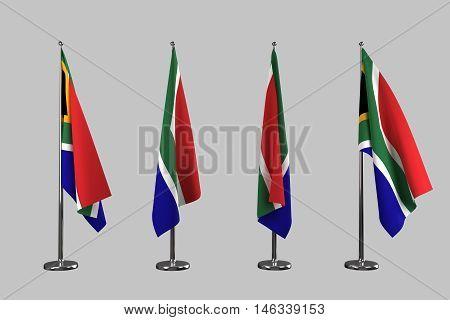South Africa indoor flags isolate on white background 3d rendering