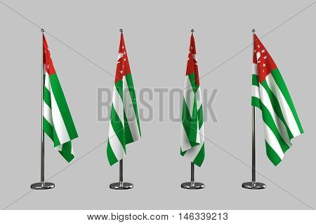 Abkhazia indoor flags isolate on white background 3d rendering
