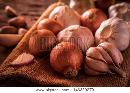 Onions and garlic in bowl. Onions and garlic vegetables food