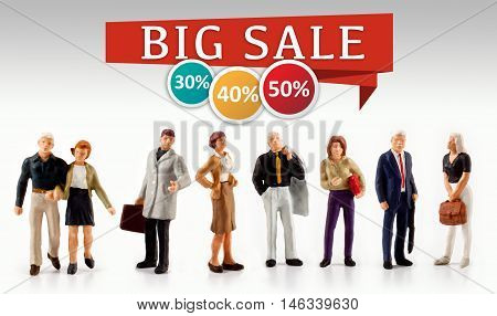miniature people  - big sale and promotion concept