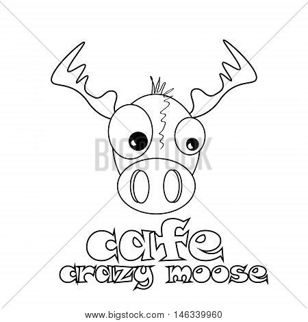 Café crazy moose abstract vector design template of cafe funny mad elk on a white background for the logo and design