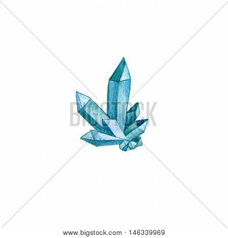 watercolor minerals, blue cristals, sapphire, drawing isolated elements at white background, hand drawn illustration