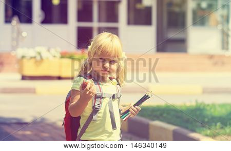 Back to school - little girl go to preschool or daycare