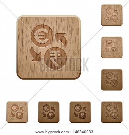 Set of carved wooden Euro Rupee exchange buttons in 8 variations.