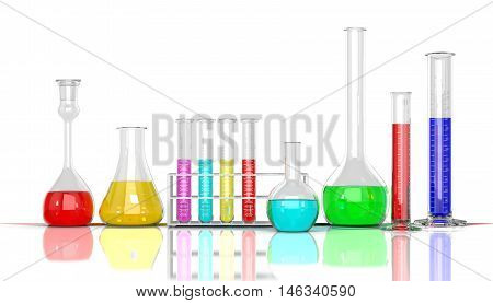 3D render illustration. Laboratory glassware whith color liquid on white background