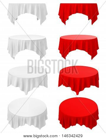 Vector Empty Round Tablecloths Isolated on White Background