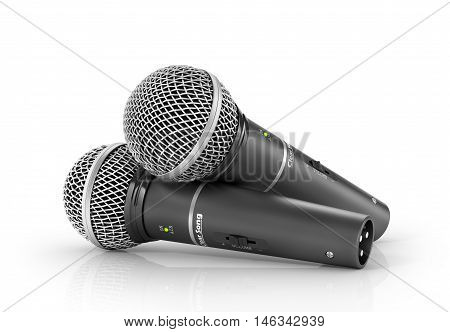 Two microphones on a white background. 3d illustration